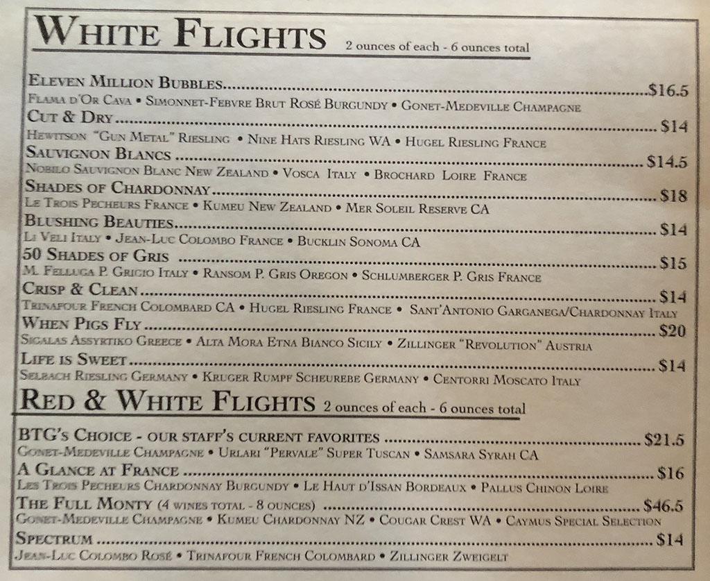 BTG Wine Bar menu - white flights, red and white flights