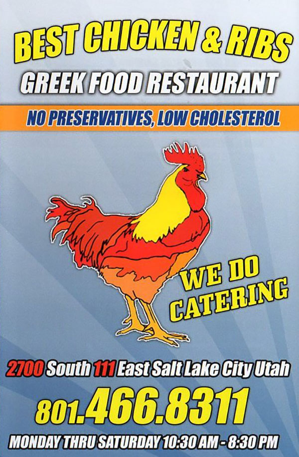 Best Chicken And Ribs menu - take out menu front
