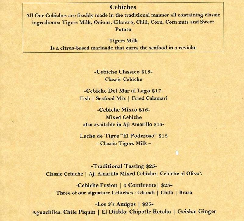 Del Mar Al Lago menu - cebiche
