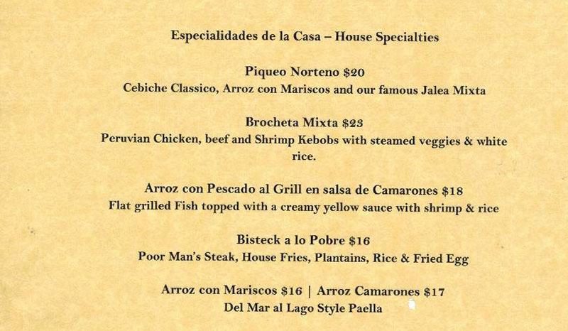 Del Mar Al Lago menu - house specials