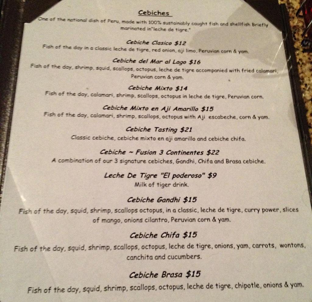 del mar al lago cebiche ceviche menu - SLC menu