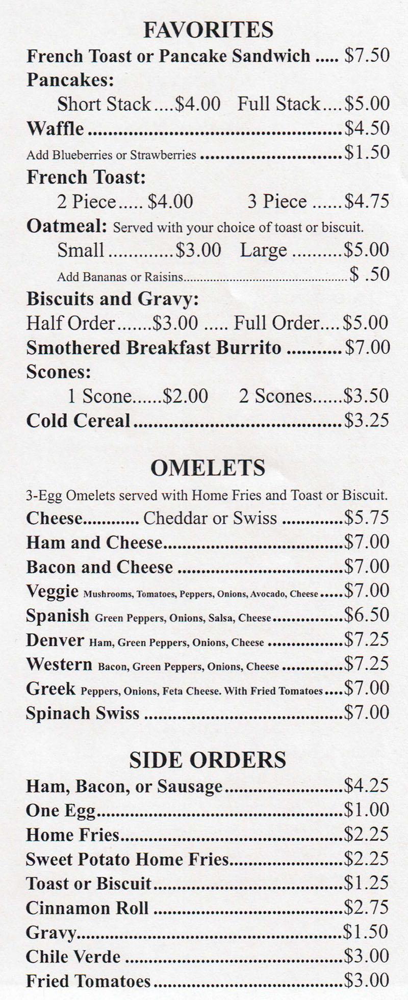 Sharons Cafe menu - favorites, omelets, side orders