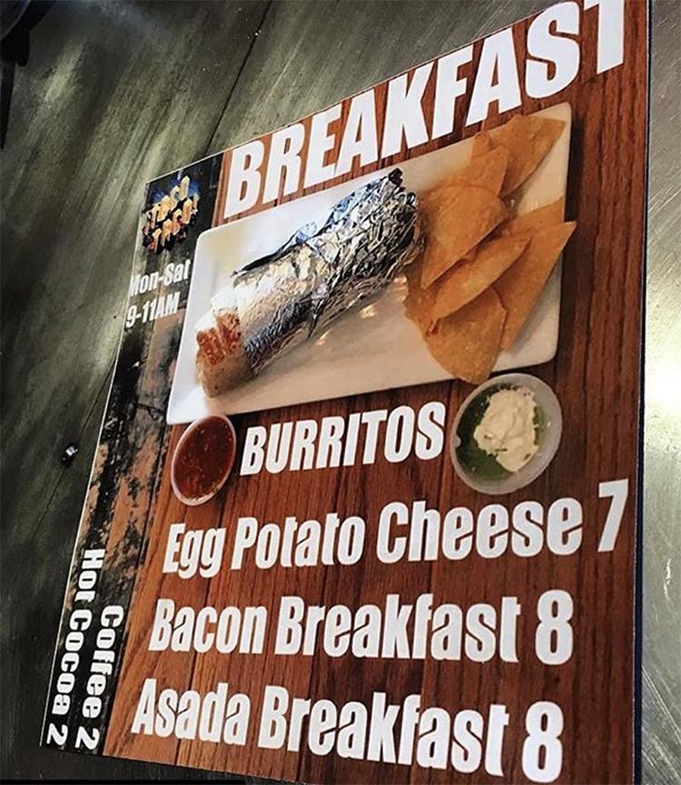 Taco Taco menu - breakfast