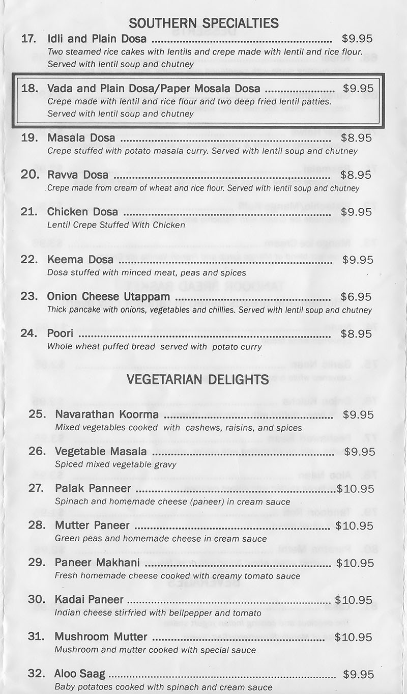 Tandoor Indian Grill menu - Southern specialties, vegetarian