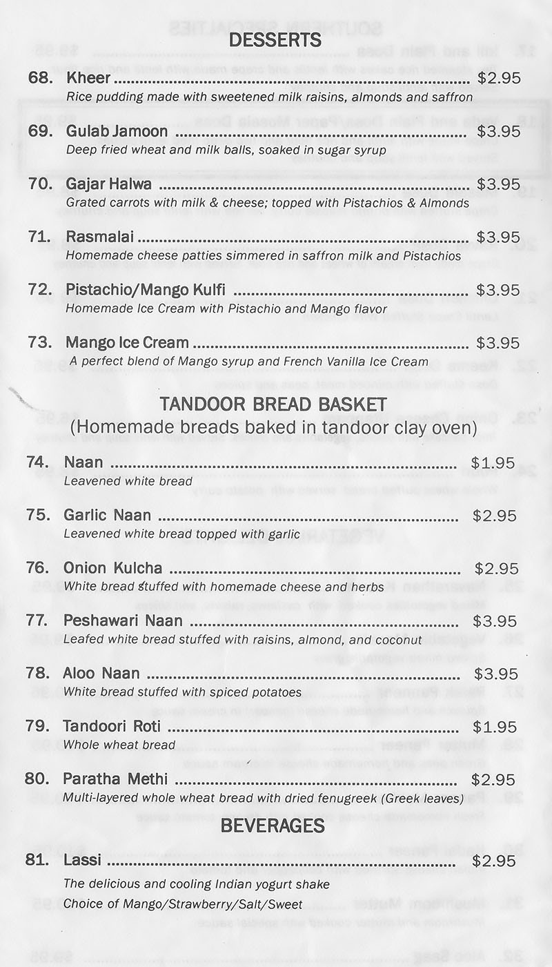 Tandoor Indian Grill menu - desserts, bread, beverages