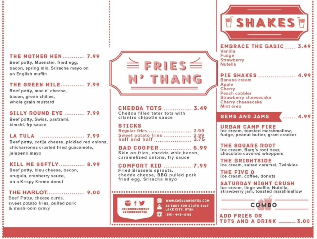 Chedda Burger menu - sides and shakes