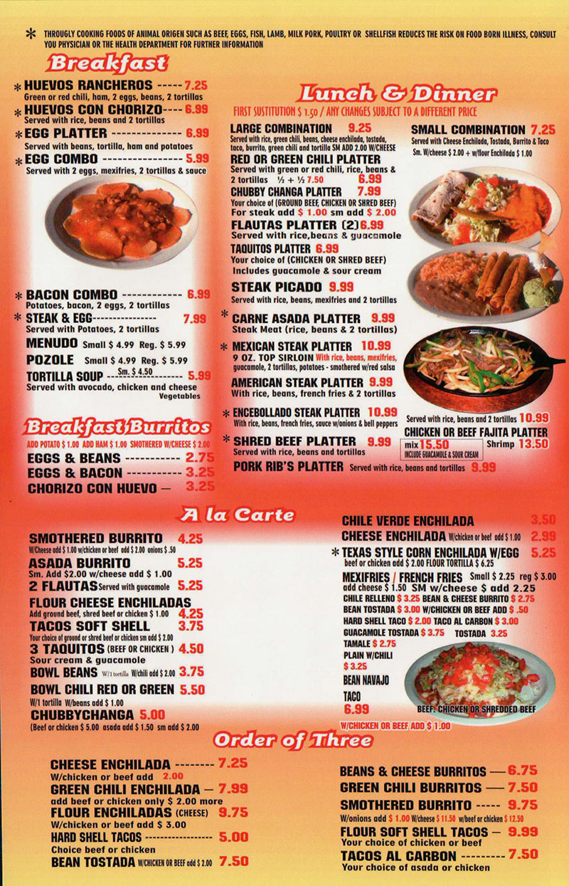 Chubbys Mexican Restaurant menu - breakfast, lunch, dinner, ala carte