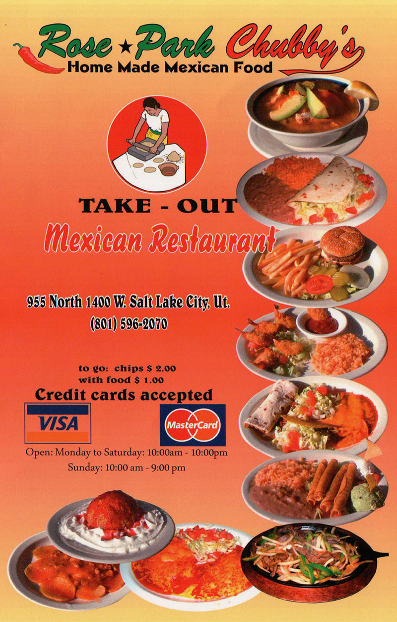 Chubbys Mexican Restaurant menu - take out menu cover