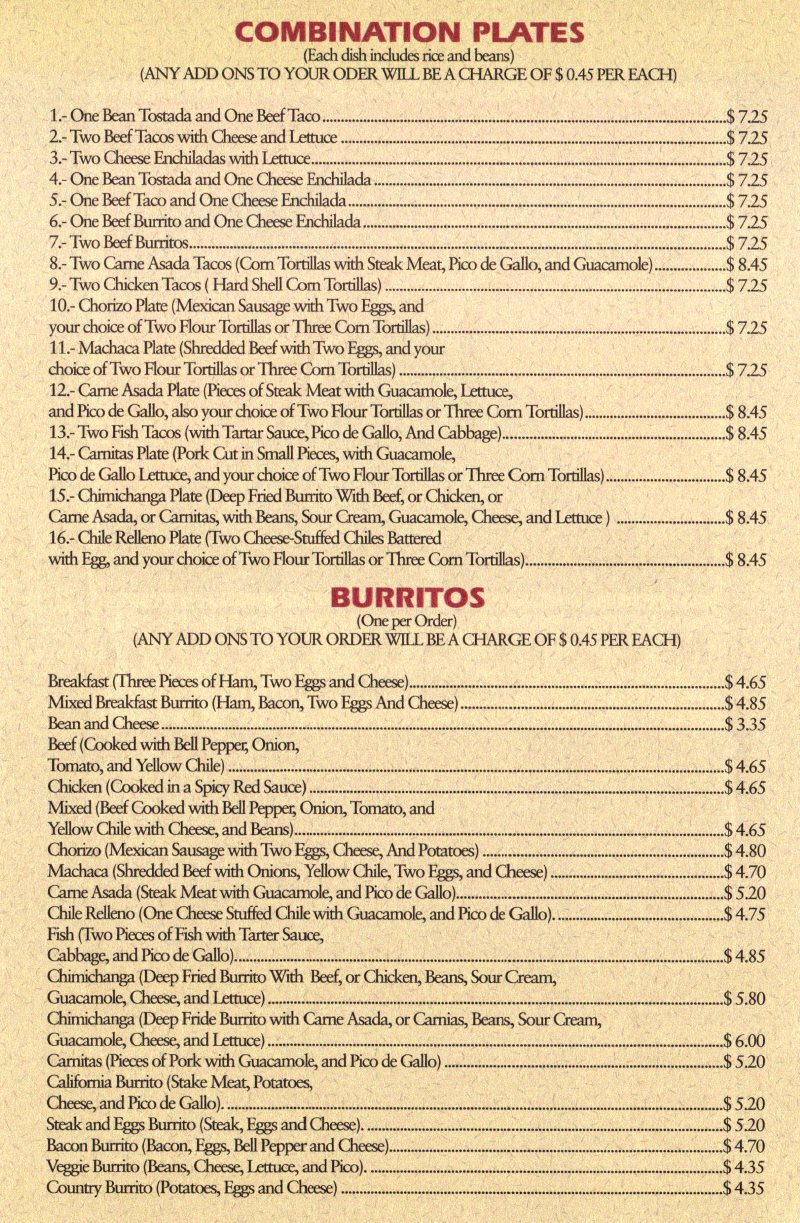 Hector's Mexican Food menu - combinations and burritos