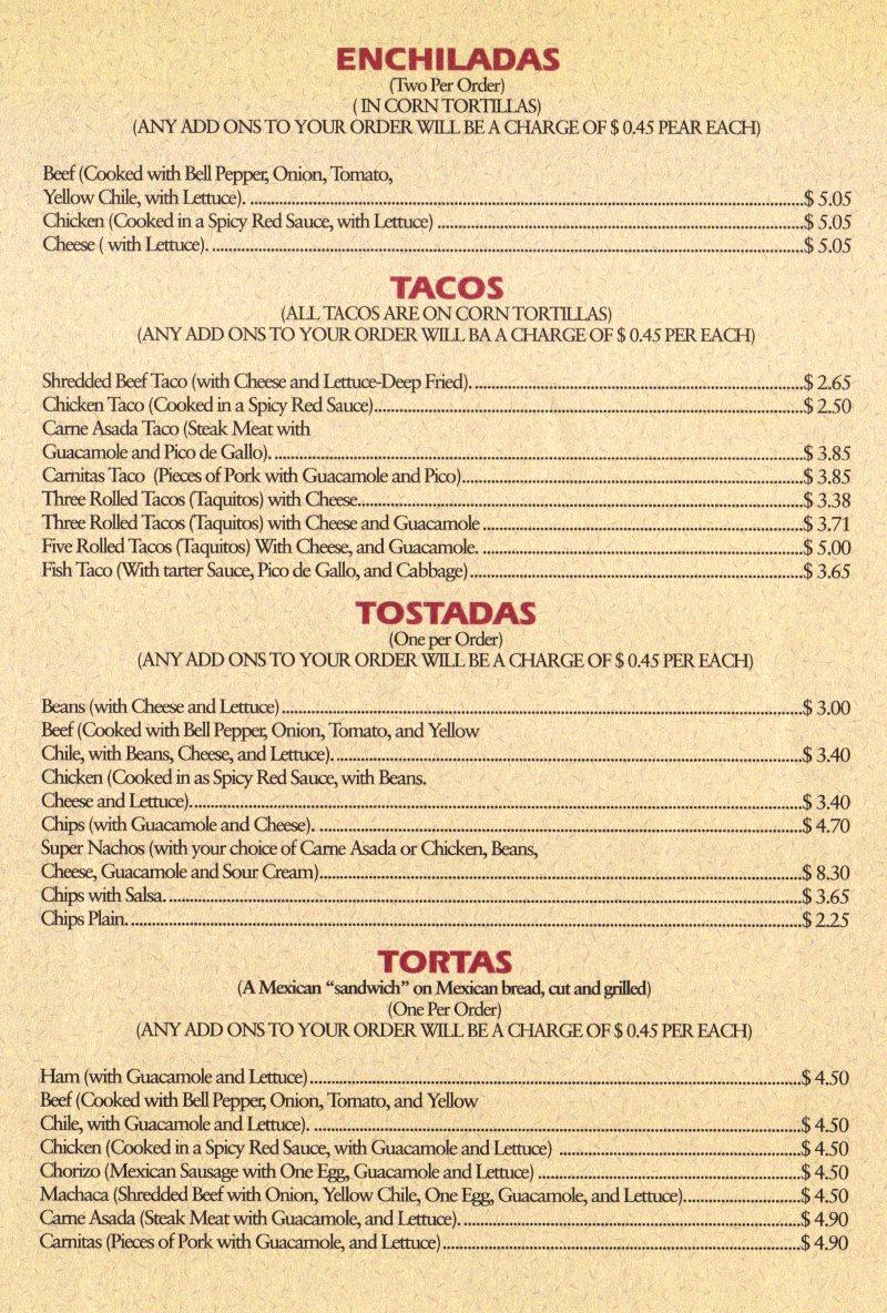 Hector's Mexican Food menu - enchiladas, tacos, toastadas and tortas