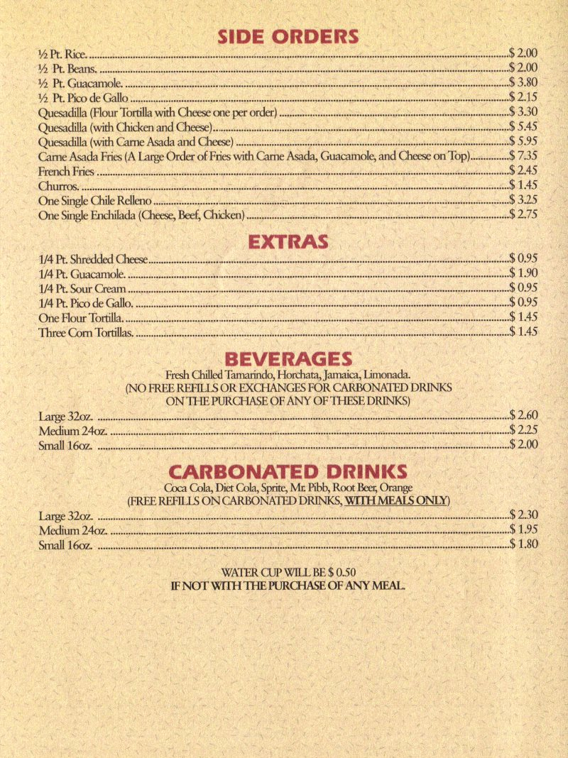 Hector's Mexican Food menu - sides, extras and beverages