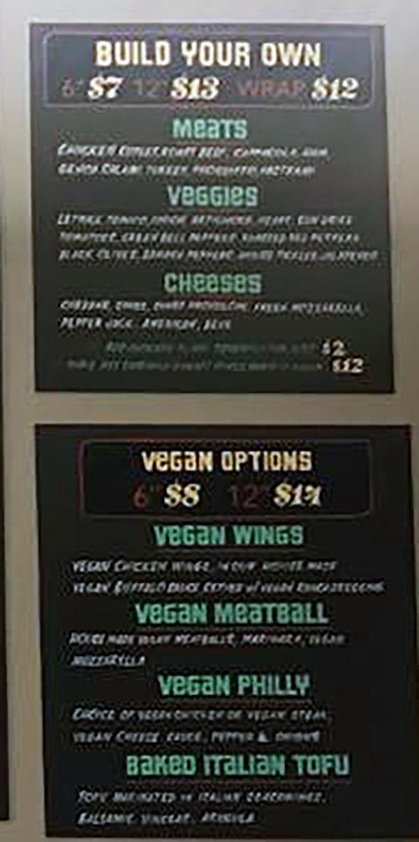 Este Deli menu 2018 - build your own, vegan