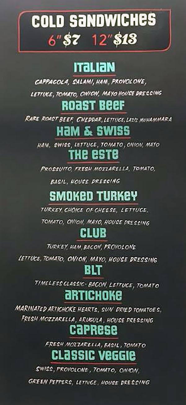 Este Deli menu 2018 - cold sandwiches