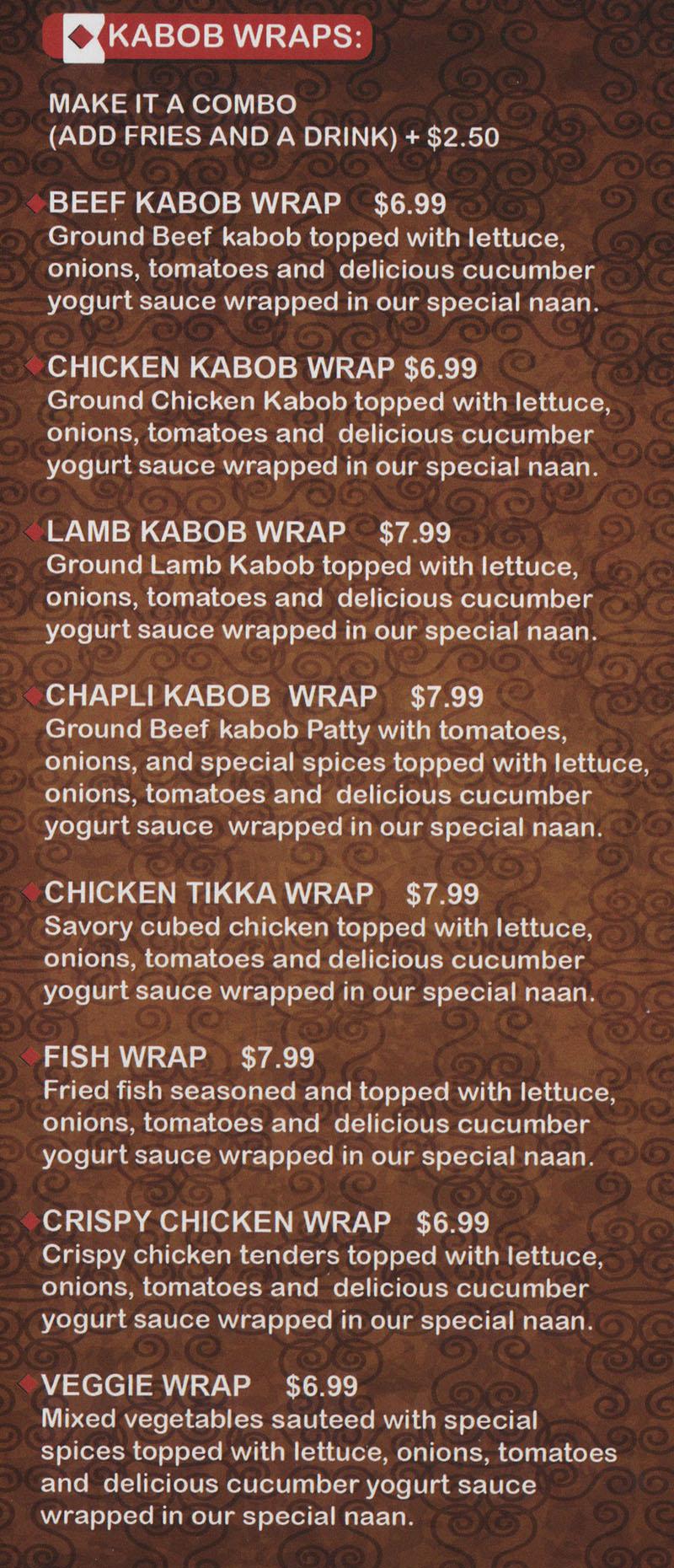 Kabob Stop menu - kabob wraps