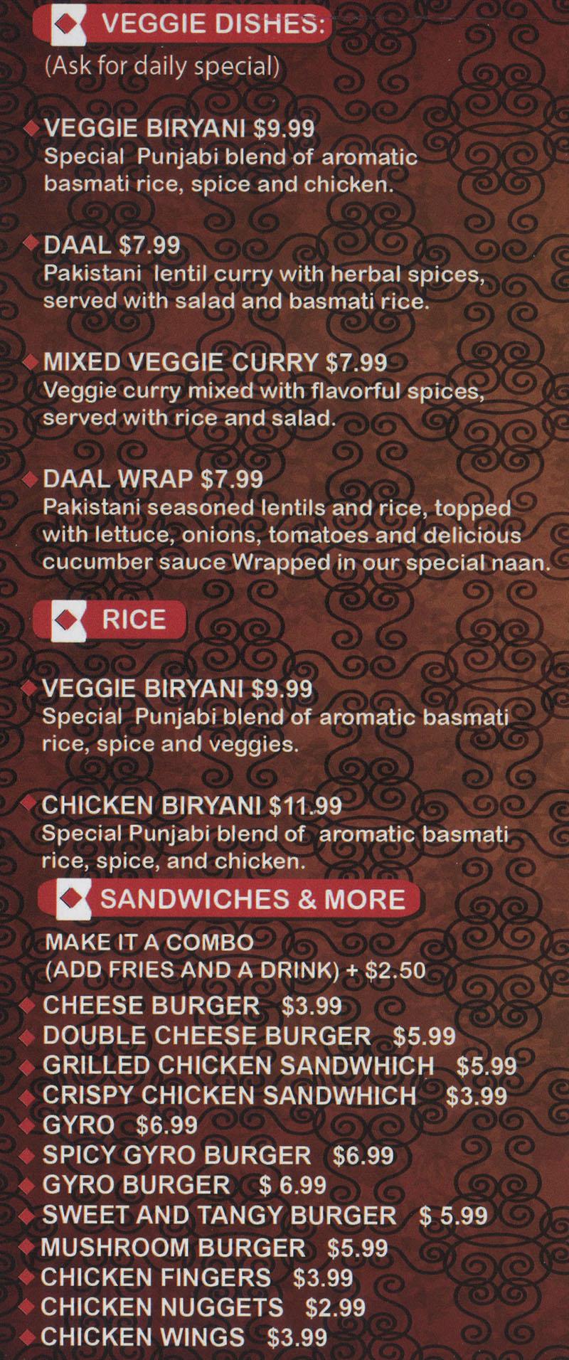 Kabob Stop menu - veggie dishes, rice, sandwiches
