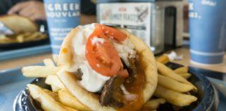 greek souvlaki gyro and fries