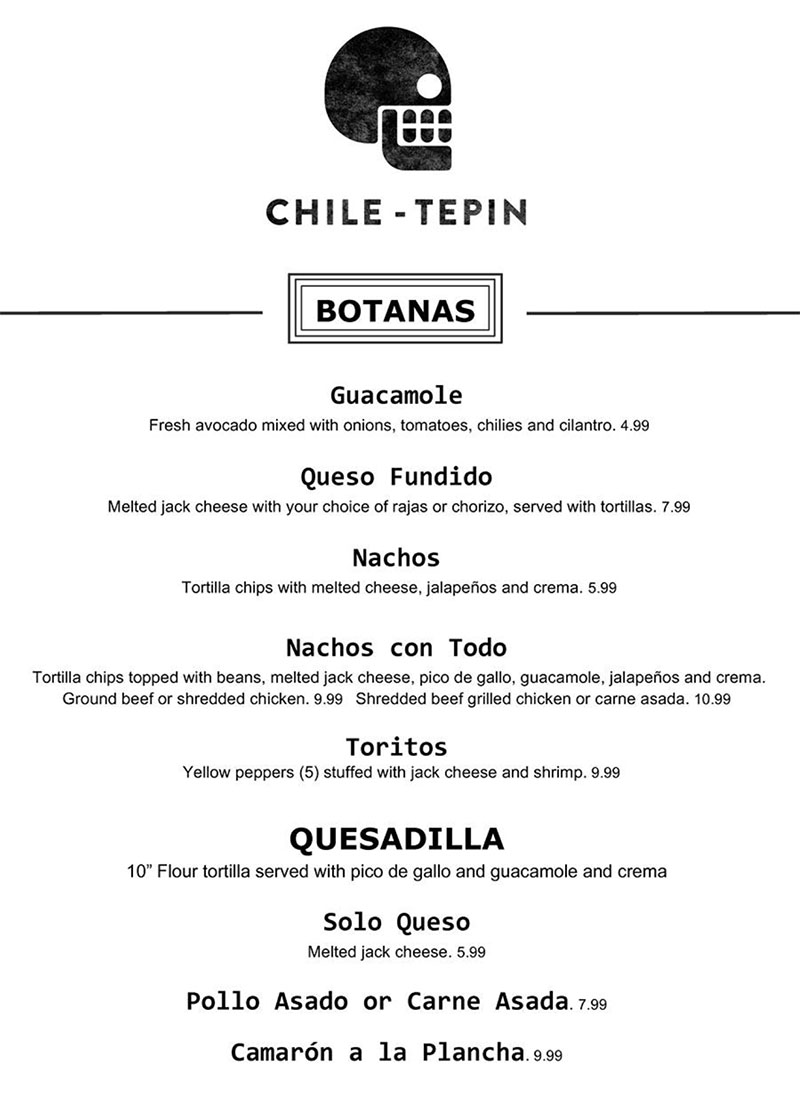 Chile Tepin menu - botanas