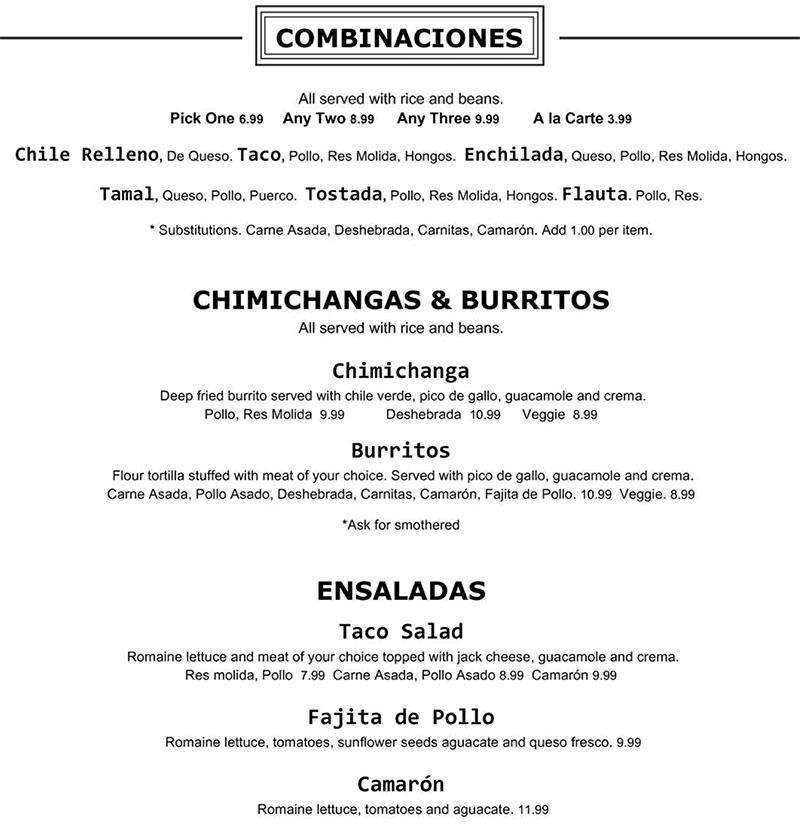 Chile Tepin menu - combinaciones