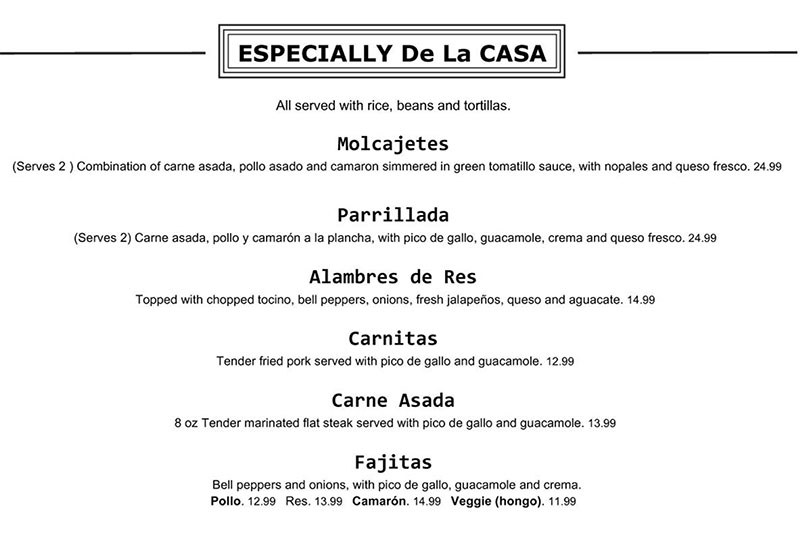 Chile Tepin menu - especially de la casa