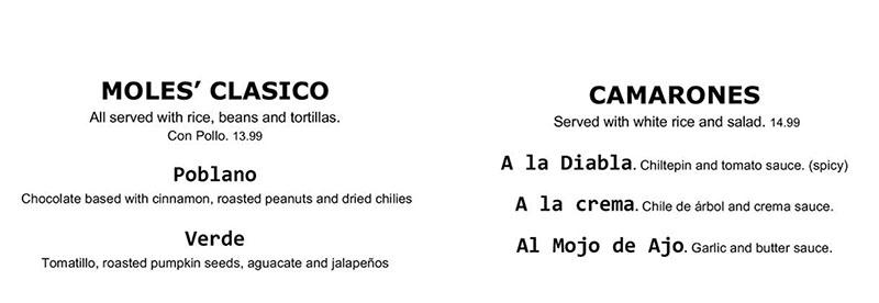Chile Tepin menu - moles, camarones