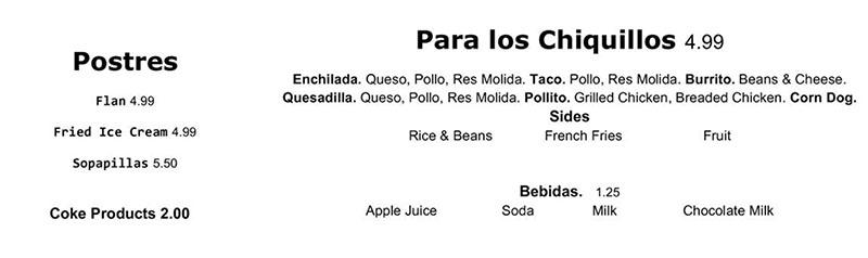 Chile Tepin menu - postres, para los chiquillos