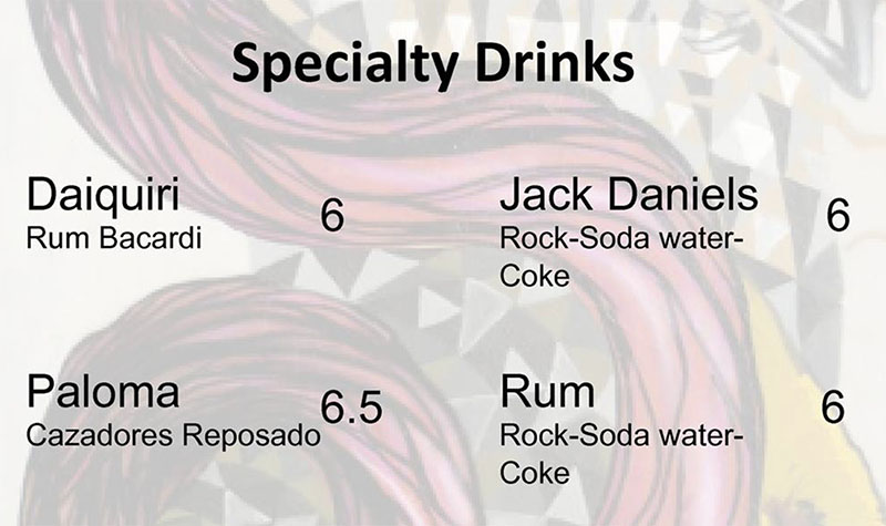 Chile Tepin menu - specialty drinks