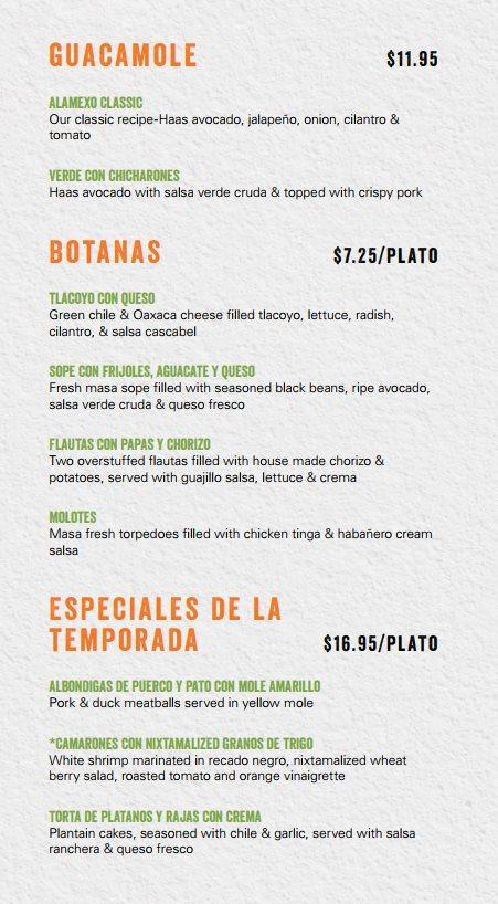 Alamexo Cantina menu - guacamole, botanas, specials