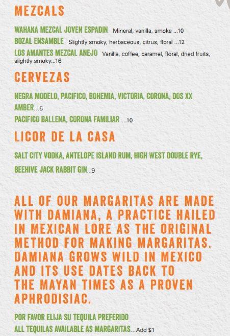 Alamexo Cantina menu - mezcal, beer, liqour