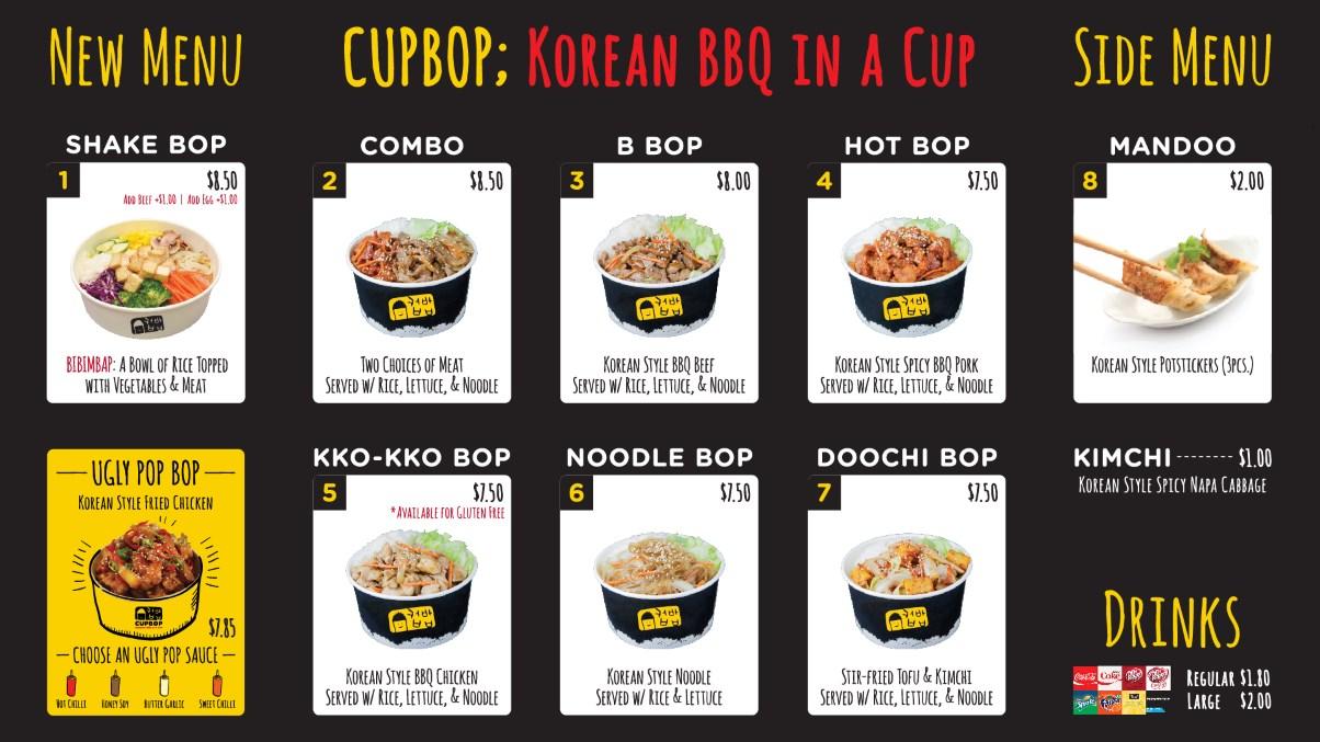 Cupbop menu Draper