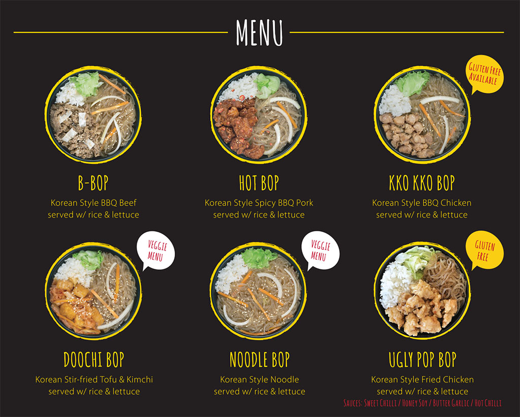 Cupbop menu - Korean BBQ bowls