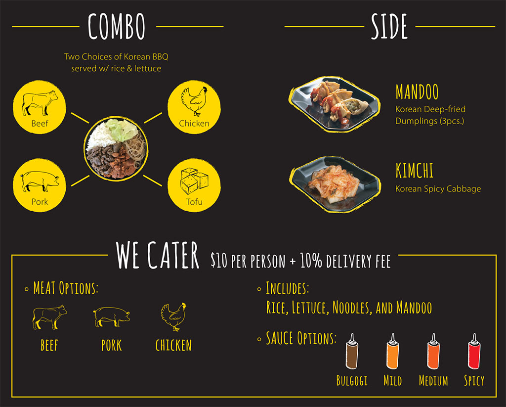 Cupbop menu - combos, sides, catering
