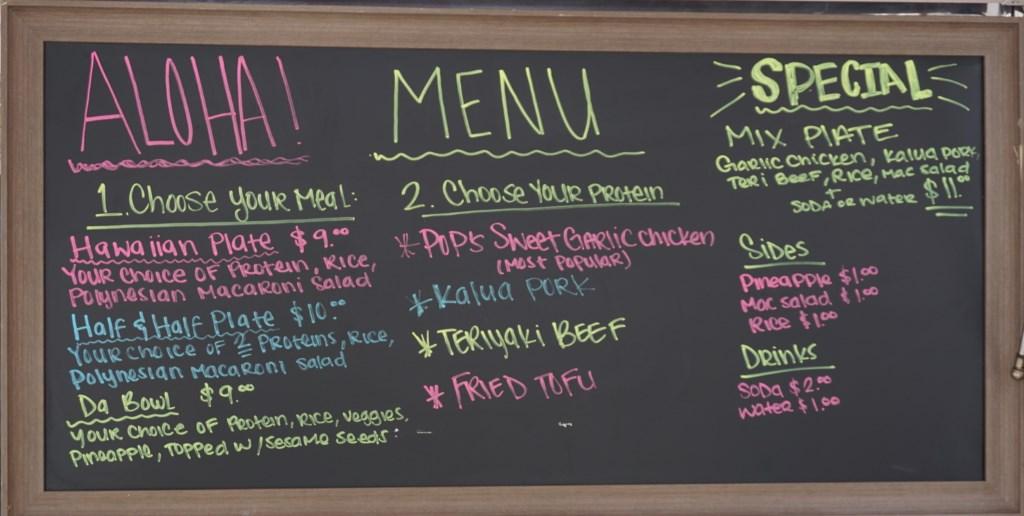The Salty Pineapple food truck menu