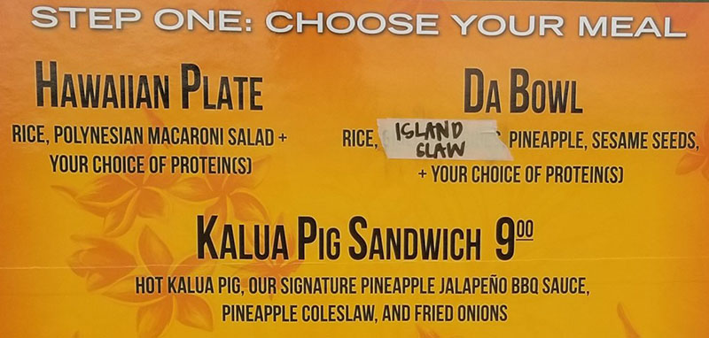The Salty Pineapple menu - choose your meal