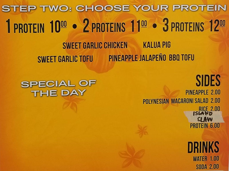 The Salty Pineapple menu - choose your protein, sides, drinks