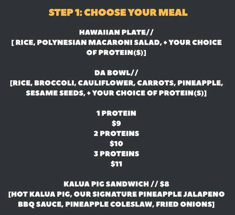 The Salty Pineapple menu - step one choose meal