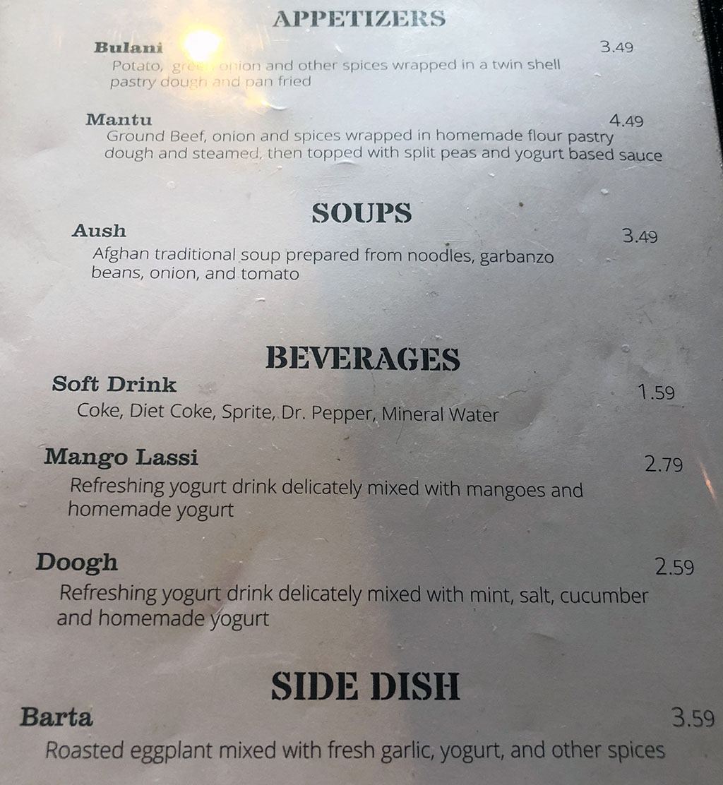Afghan Kitchen menu - appetizers, soups, beverages, side dish
