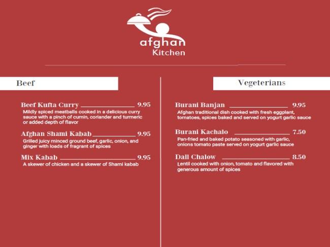 Afghan Kitchen menu - beef, vegetarian