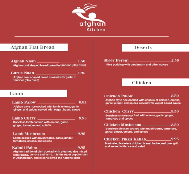 Afghan Kitchen menu - flat bread, lamb, chicken