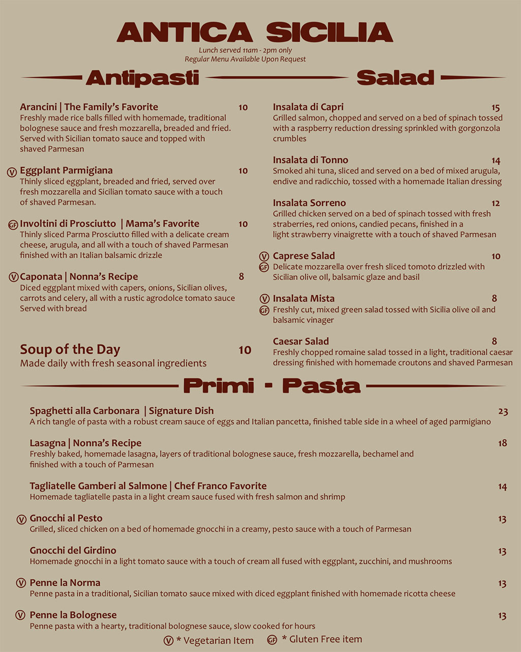 Antica Sicilia lunch menu - appetizers, soup, salad, pasta
