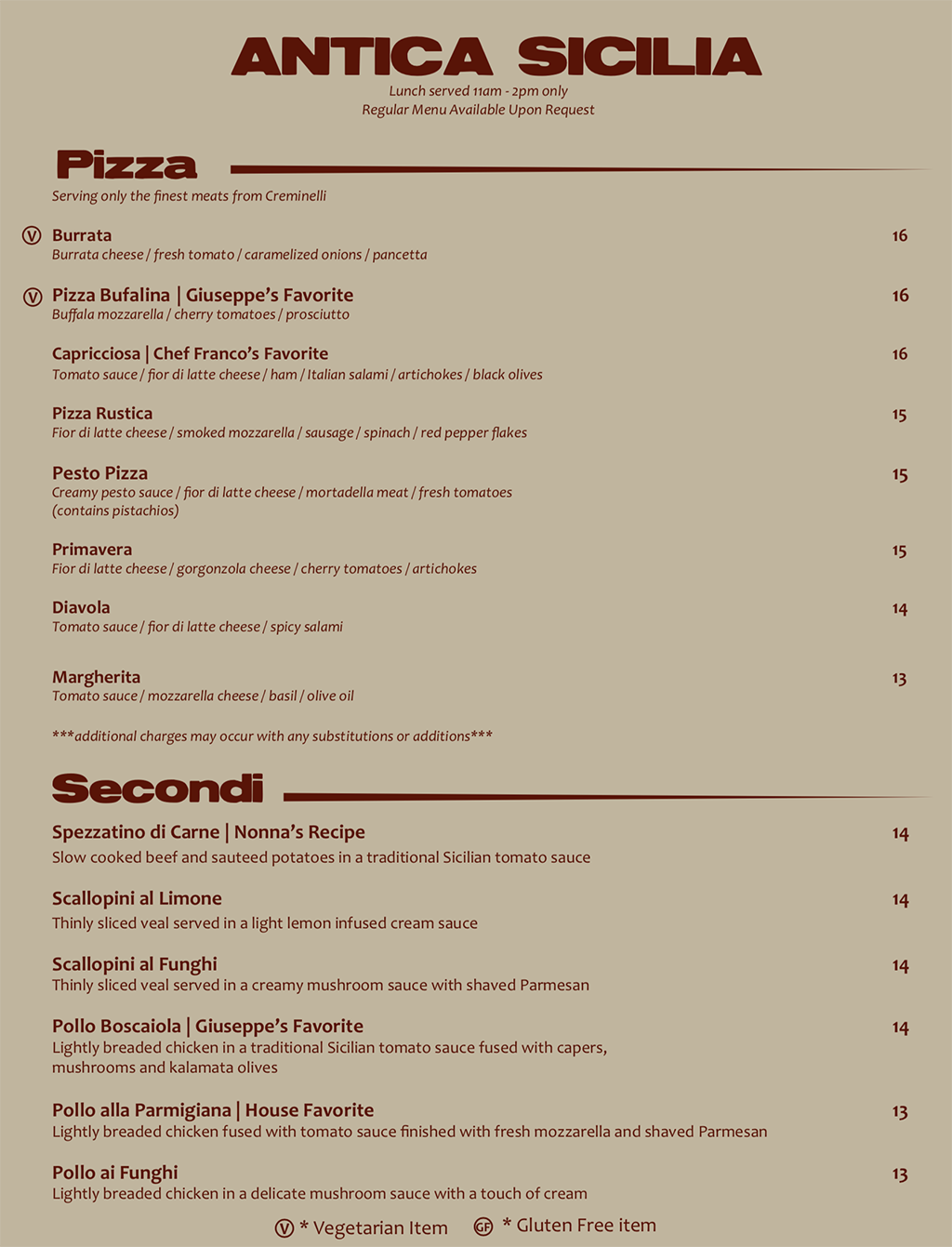 Antica Sicilia lunch menu - pizza, entrees