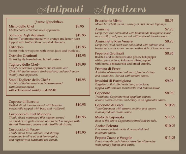 Antica Sicilia menu - antipasti