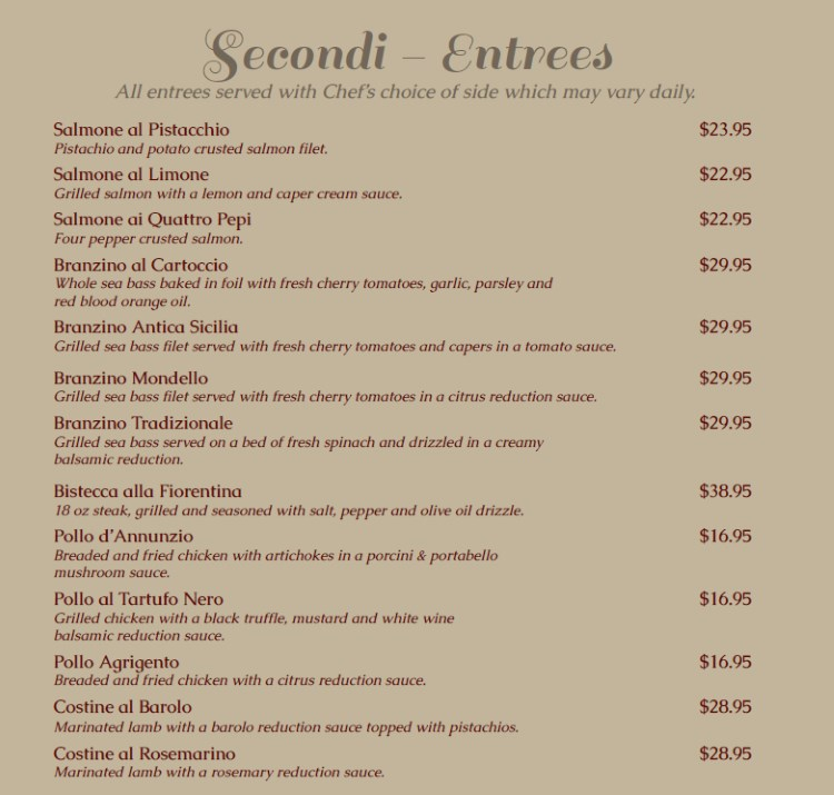 Antica Sicilia menu - entrees