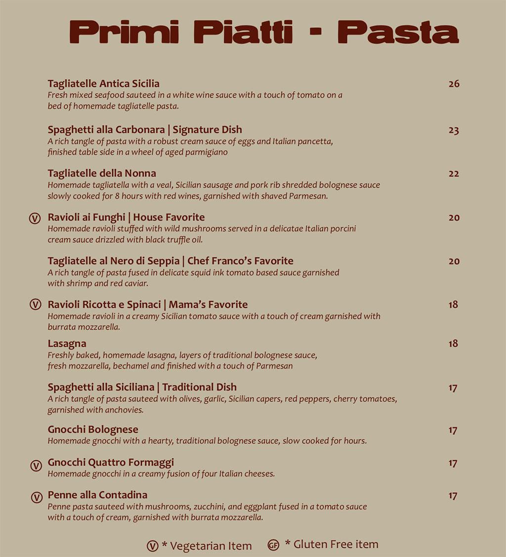 Antica Sicilia menu - pasta