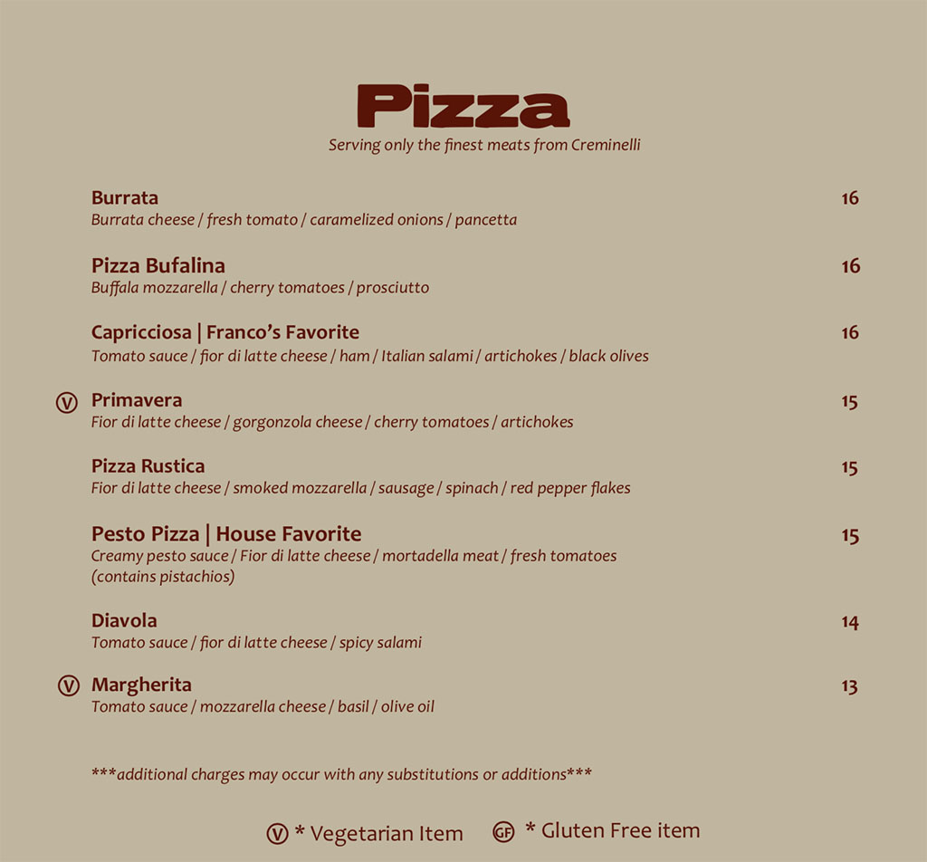 Antica Sicilia menu - pizza