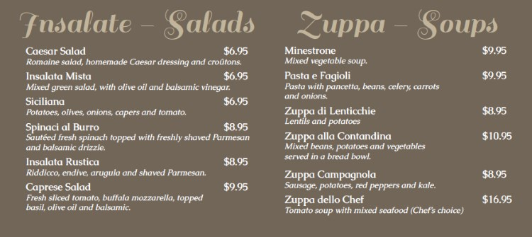 Antica Sicilia menu - salads and soup