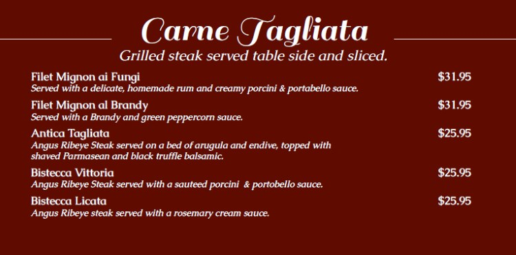 Antica Sicilia menu - steaks