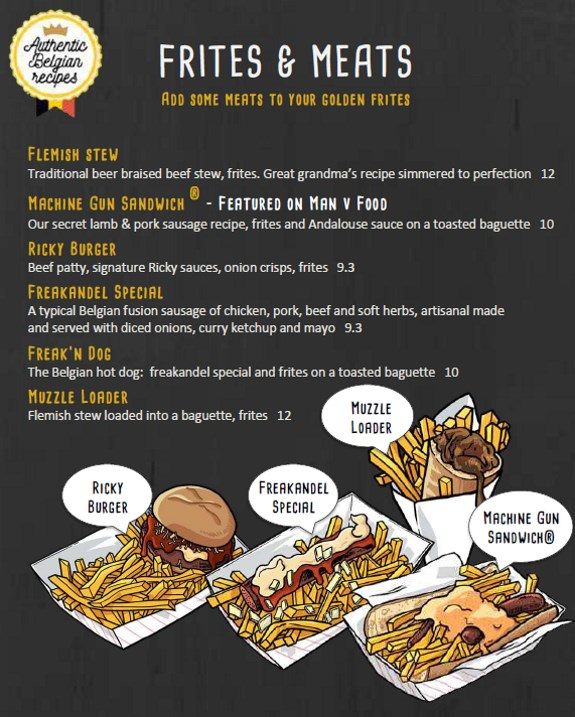 Bruges Waffles And Frites Menu - frites and meats