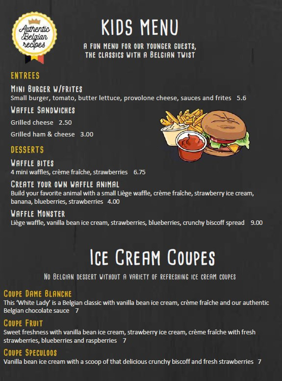 Bruges Waffles And Frites Menu - kids menu and ice cream