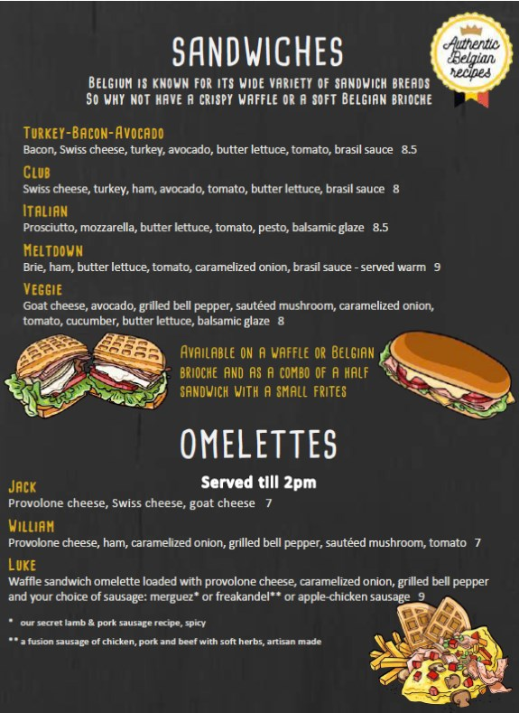 Bruges Waffles And Frites Menu - sandwiches and omelettes