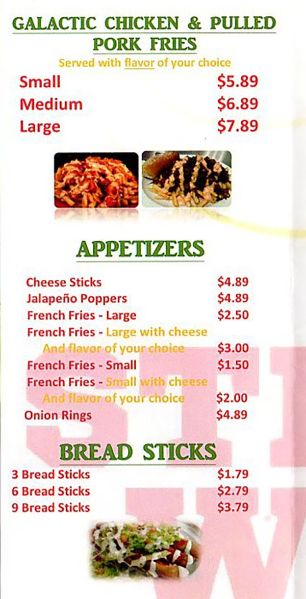 Stellar Wings menu - galactic chicken, appetizers, bread sticks